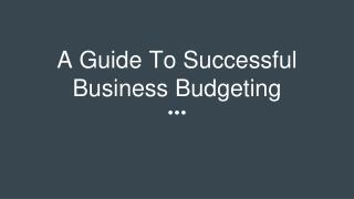 A Guide To Successful Business Budgeting