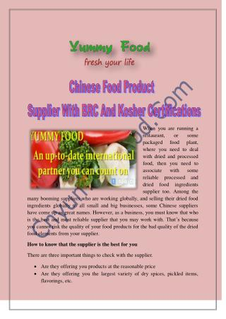 Chinese Food Product Supplier with BRC and Kosher Certifications