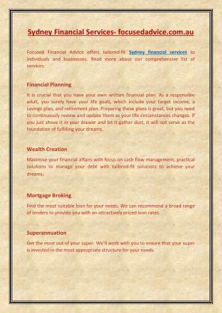 sydney financial services