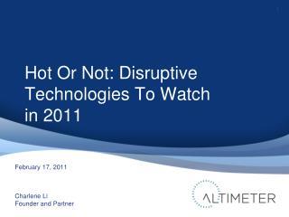 [Slides] Disruptive Technology Outlook 2012, by Charlene Li