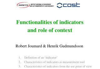 Functionalities of indicators  and role of context