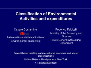 Classification of Environmental Activities and expenditures