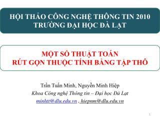 Trn Tun Minh, Nguyn Minh Hip Khoa C ng ngh Th ng tin    i hc    Lt minhttdlu.vn , hiepnmdlu.vn