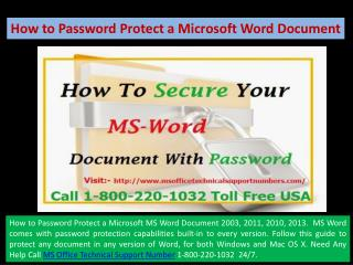 1-800-220-1032 How to Password Protect a Microsoft MS Word Document 2003, 2011, 2010, 2013