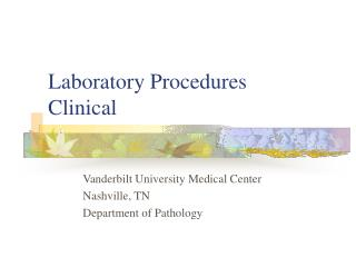Laboratory Procedures Clinical