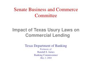 Impact of Texas Usury Laws on Commercial Lending