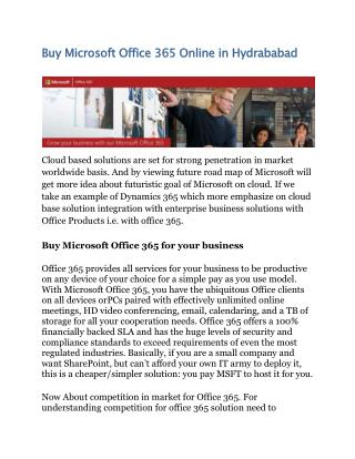 Buy Microsoft Office 365 Online in Hydrababad