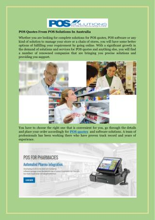 POS Quotes From POS Solutions In Australia