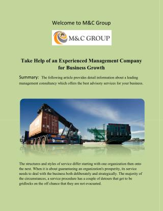 Take Help of an Experienced Management Company for Business Growth