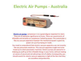 Electric Air Pumps - Australia