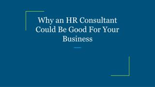 Why an HR Consultant Could Be Good For Your Business
