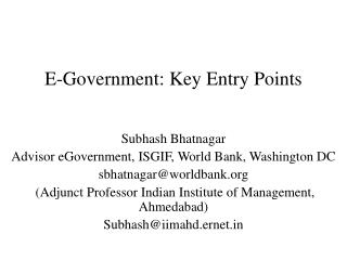 E-Government: Key Entry Points