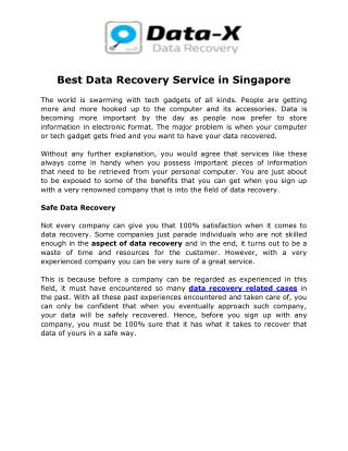 Best Data Recovery Service in Singapore