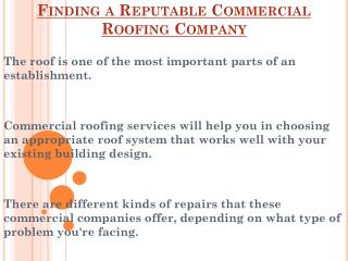 How To Find A Reputable Commercial Roofing Company