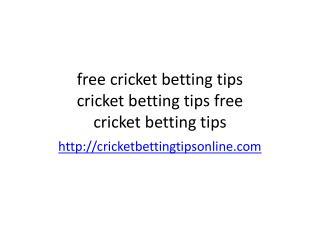 cricket betting tips free