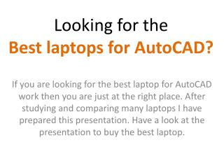 Find top laptop for AutoCAD work