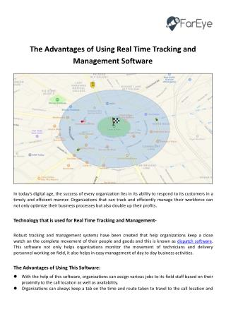 The Advantages of Using Real Time Tracking and Management Software