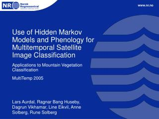 Use of Hidden Markov Models and Phenology for Multitemporal Satellite Image Classification