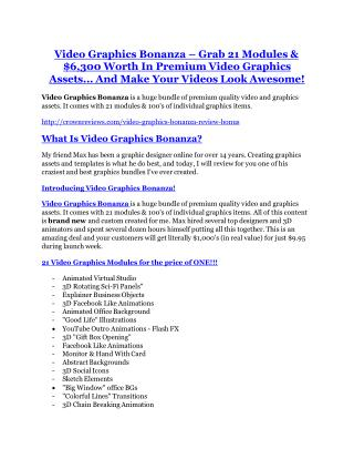 Video Graphics Bonanza TRUTH review and EXCLUSIVE $25000 BONUS
