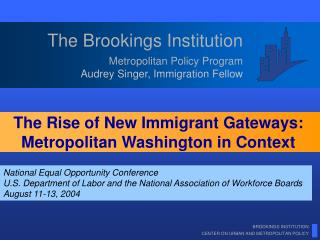Metropolitan Policy Program Audrey Singer, Immigration Fellow