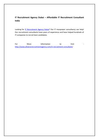 IT Recruitment Agency Dubai – Affordable IT Recruitment Consultant India