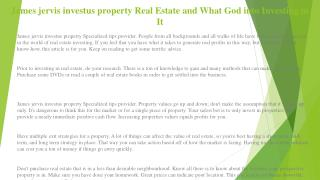 James jervis dubai If You're Seeking Out the Best Secrets About Real Estate Investing, Read This