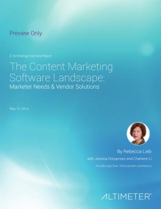 [Report] The Content Marketing Software Landscape, by Altimeter Group
