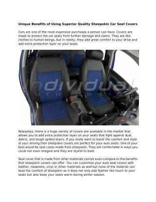 Unique Benefits of Using Superior Quality Sheepskin Car Seat Covers