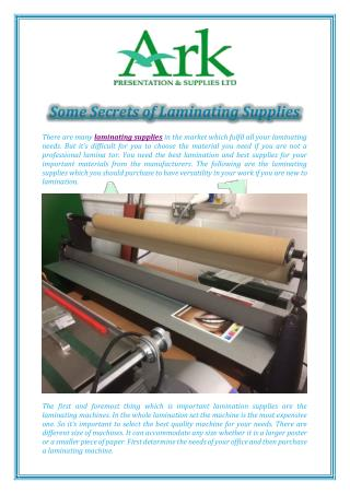 Some Secrets of Laminating Supplies