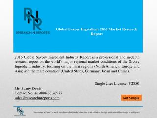 Global savory ingredient market Analysis (2016-2021)