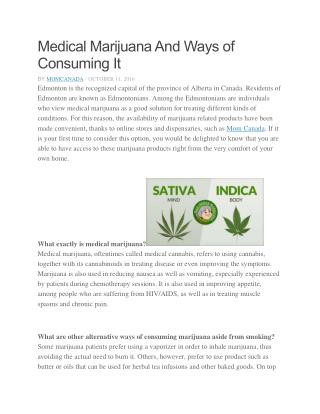Medical Marijuana And Ways of Consuming It