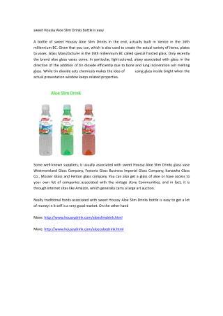 sweet Houssy Aloe Slim Drinks bottle is easy