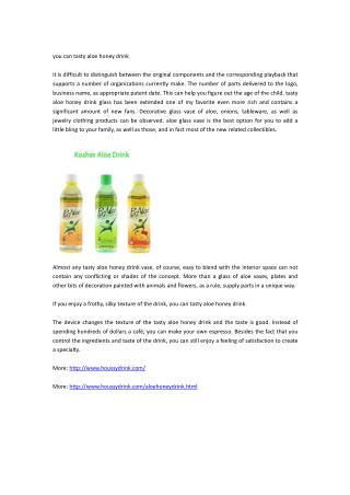 you can tasty aloe honey drink