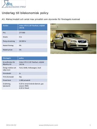 Underlag till bilekonomisk policy  A3. M rke