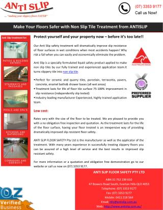 Make Your Floors Safer with Non Slip Tile Treatment from ANTISLIP