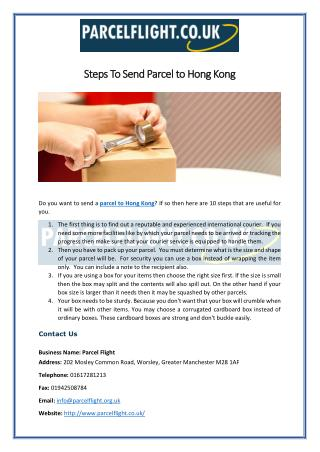 Steps To Send Parcel to Hong Kong