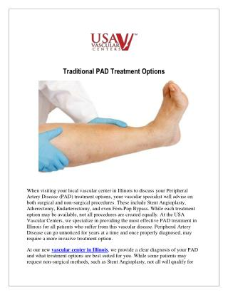 Traditional PAD Treatment Options at USA Vascular Centers