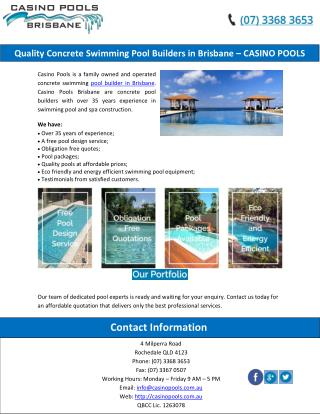 Quality Concrete Swimming Pool Builders in Brisbane – CASINO POOLS