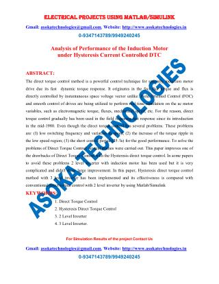 Analysis of Performance of the Induction Motor under Hysteresis Current Controlled DTC