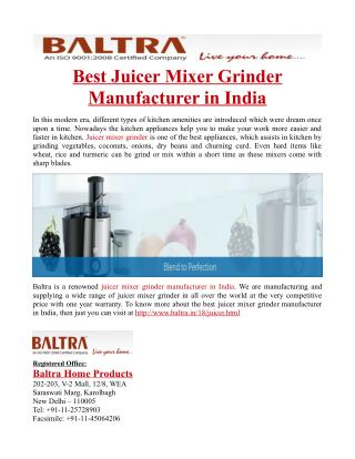 Best Juicer Mixer Grinder Manufacturer in India