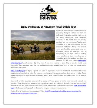 Enjoy the Beauty of Nature on Royal Enfield Tour