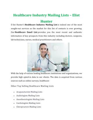 Healthcare Industry Mailing Lists | E-Listhunter