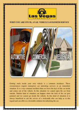 WHEN YOU ARE STUCK, AVAIL VEHICLE LOCKSMITH SERVICE