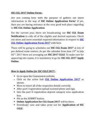 SSC CGL 2017 Online Form