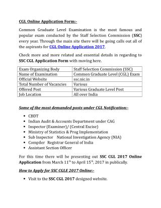 CGL Application Online Form 2017