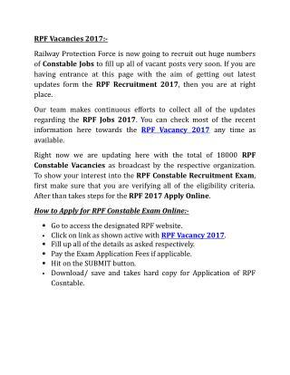 RPF Vacancies 2017