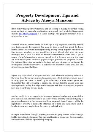 Property Development Tips and Advice by Ateeya Manzoor
