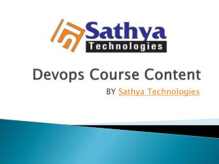 Devops Training Institute In Hyderabad|SathyaTechnologies