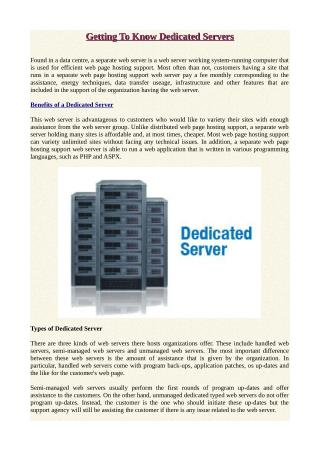 Getting To Know Dedicated Servers