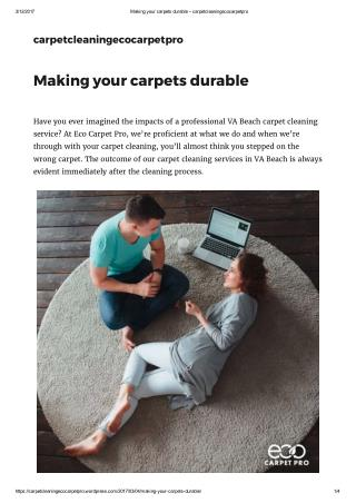 Making your carpets durable